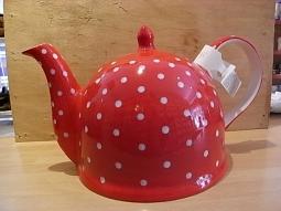 Teekanne Rot mit weißen Punkten 1,7l