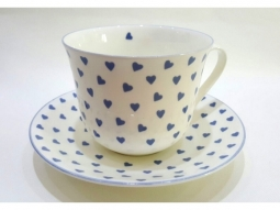 Blue Heart Jumbotasse Fine Bone China