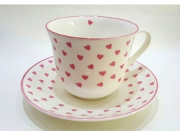Rosa Heart Jumbotasse Fine Bone China
