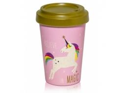 Pink Unicorn Bambo Becher to go