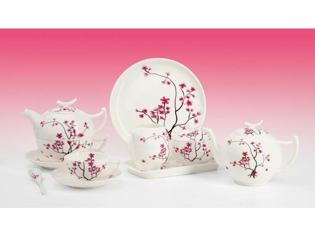 Kirschblüte Teeservice Komplett Fine Bone China