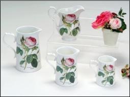 Krüge Redoute Roses aus Bone China mit schönem Rosendekor