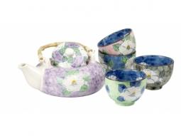 ZINIE Keramik Teekanne 0,6l mit Sieb und 4 Cups