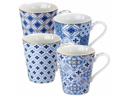 Porzellan Becher Blue Tiles 260ml, 4-fach sortiert